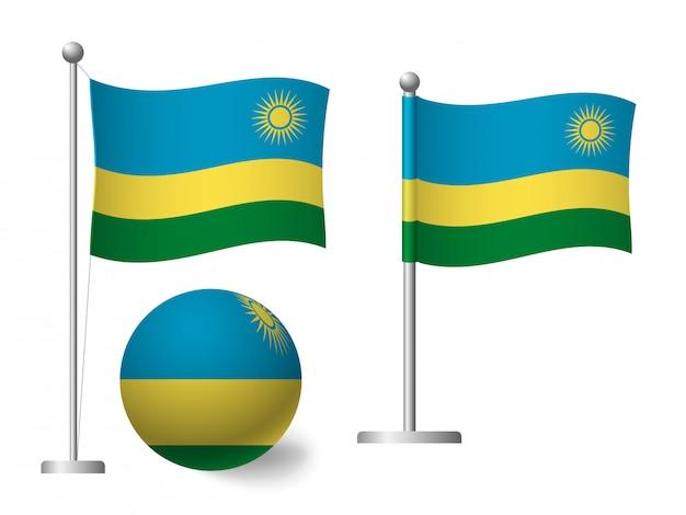 Флаг руанды на значок полюса и мяча