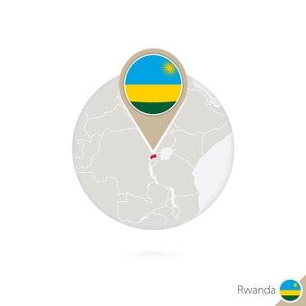 Карта руанды и флаг в круге. карта руанды, булавка флага руанды. карта руанды в стиле земного шара. векторные иллюстрации.