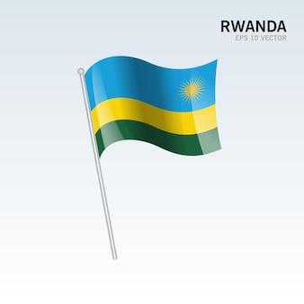 Руанда развевающийся флаг, изолированные на серый