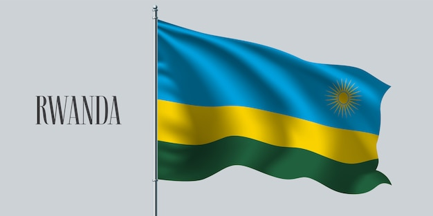 Руанда развевающийся флаг на флагштоке
