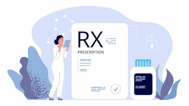 Rx処方。薬剤師のイラスト、鎮痛剤の処方箋。製薬業界、治療薬。イラスト処方箋医薬品、医薬品、医療