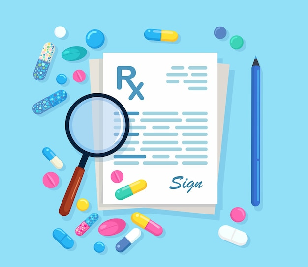 Rx prescription with magnifying glasses, pen isolated on background. clinic document with pills, tablets, capsules, medicine.list of drugs. flat design
