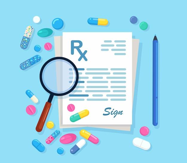 Рецепт rx с увеличительными стеклами, ручка, изолированные на фоне. документ клиники с таблетками, таблетками, капсулами, лекарством. список лекарств. плоский дизайн
