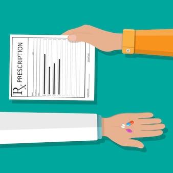 Рука держит рецепт rx форму и таблетки