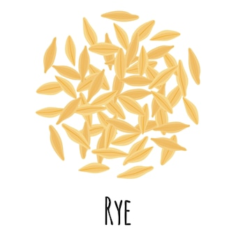 Rye for template farmer market design, label and packing. natural energy protein organic super food. vector cartoon isolated illustration.