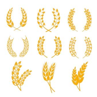 Rye wheat ears wreaths elements