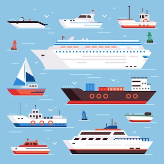 S cartoon boat powerboat cruise liner navy shipping ship sailing yacht speed floating sea buoy vessel and marine sail fishing boats