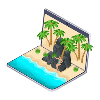 S the choice of rest on the laptop, the girl on the rocky mountains makes selfie, gadgets on vacation, travel, beach, sea, tropics