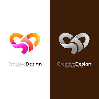 S and d logo with love design template