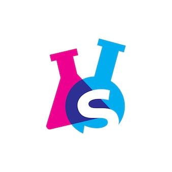 S letter lab laboratory glassware beaker logo vector icon illustration