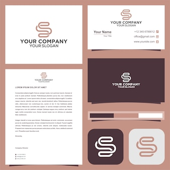 S letter logo and business card