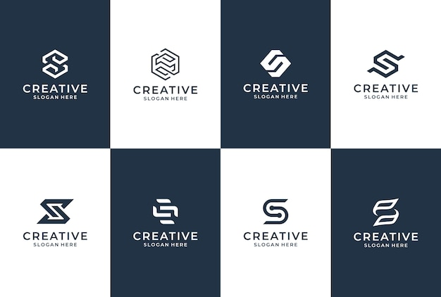 S letter logo collection. initial s logo inspiration. lettering logo design.