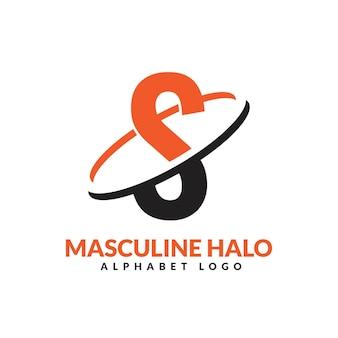 S文字オレンジと黒の男性的な幾何学的なリングのロゴベクトルアイコンイラスト