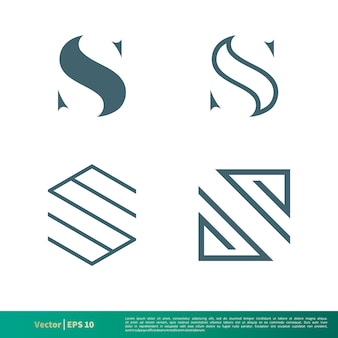 S letter set icon logo template