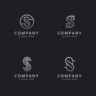 Инициалы s line line monogram шаблон логотипа с серебристым стилем цвета для компании