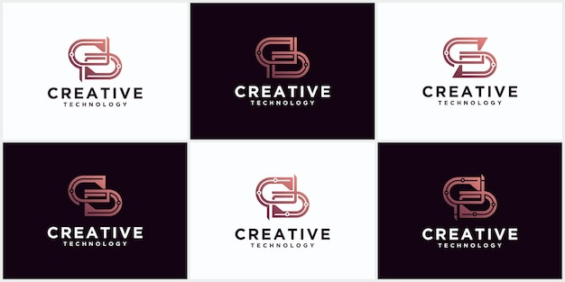 S logo set initial monogram negative space creative and minimalist letters, s logo editable icon design in format