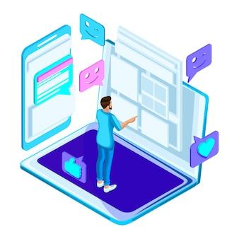 S молодой человек ищет онлайн график занятий в университете, образование, студент, онлайн-обучение. яркая голография