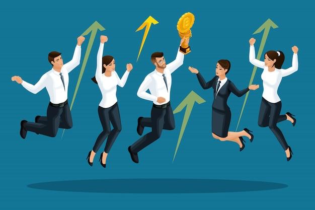 실업가의 행복하고 뛰어 오르고, cryptocurrency는 성장하고, 증권 거래소에서 승리