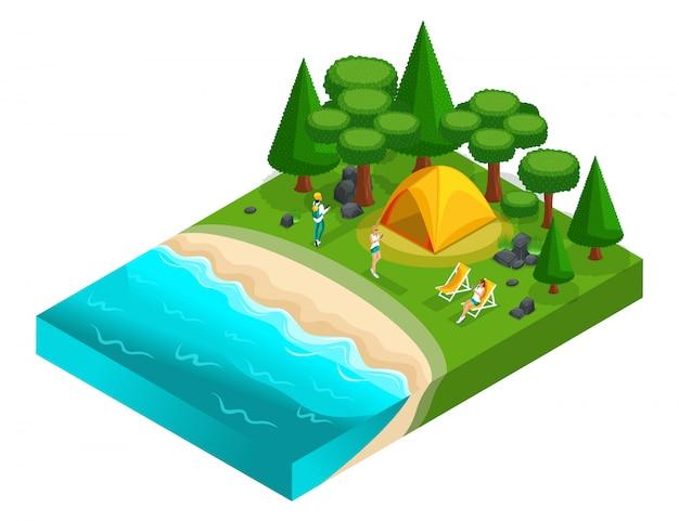 自然、森、海、ビーチ、湖のほとり、川の土手でのキャンプ、z世代の若者のレクリエーション。健康的な生活様式
