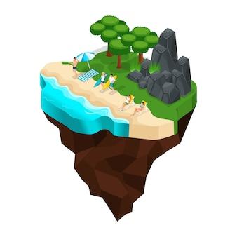 해변, 강, 호수, 바다, 여자 일광욕, 서핑, 숲, 산, 돌에 휴식. 큰 아름다운 요정 섬