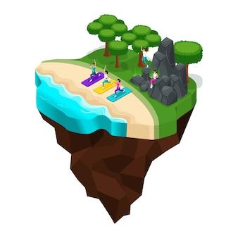 해변에서 휴식, 강 유역, 호수, 소녀들은 스포츠, 운동 선수, 건강한 라이프 스타일, 숲 풍경, 산에 종사하고 있습니다. 큰 아름다운 섬