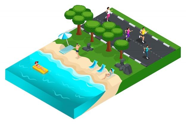 S 자연, 잔디, 풍경, 사람들이 바다로, 운동 선수 훈련 도로에서 휴식. 밝은 여름 개념 프리미엄 벡터