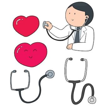 医者、聴診器、心臓のセット