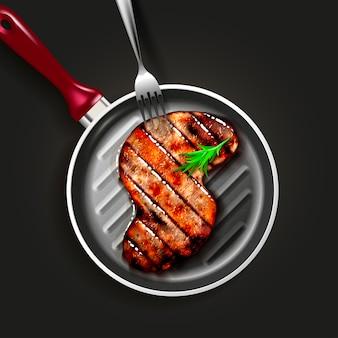 S字型のビーフステーキとハーブスパイスのグリル