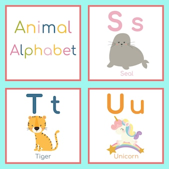 かわいい動物アルファベット。 s、t、uの文字。シール、トラ、ユニコーン。