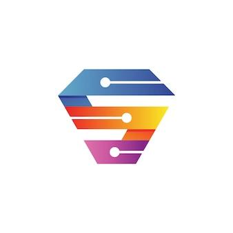 Буква s tech логотип вектор