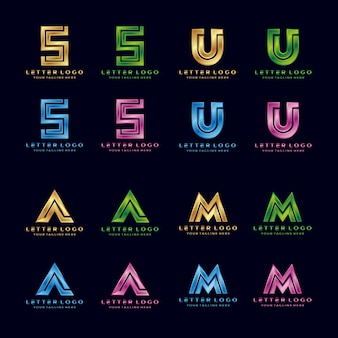 S、U、A、M、Luxury letterロゴ