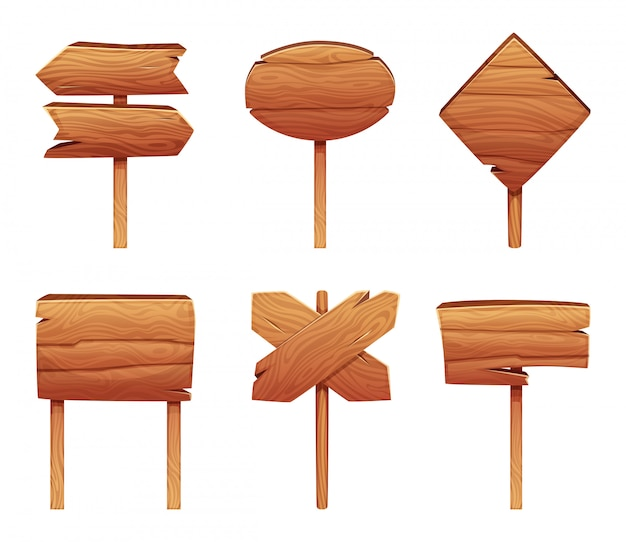 S of wooden signboards in cartoon style