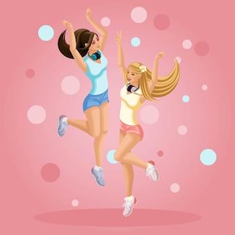 Молодые девушки счастливы, прыгают, веселятся, развеваются на ветру подростки, поколение z, яркий фон летней одежды