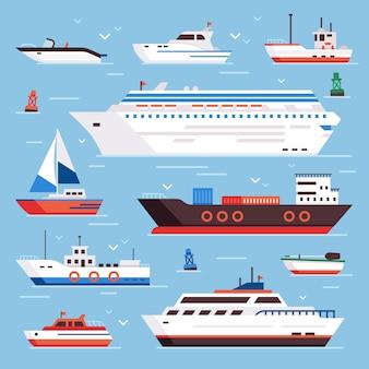 S漫画ボートパワーボートクルーズライナー海軍出荷船帆船ヨットスピードフローティング海ブイ船とマリンセール漁船