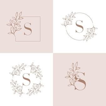 Буква s дизайн логотипа с элементом орхидеи
