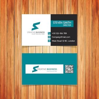 Sレターロゴ最小のコーポレートビジネスカード、グリーンバック付