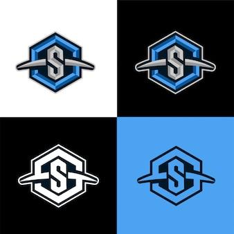 S шаблон с логотипом шестиугольника.