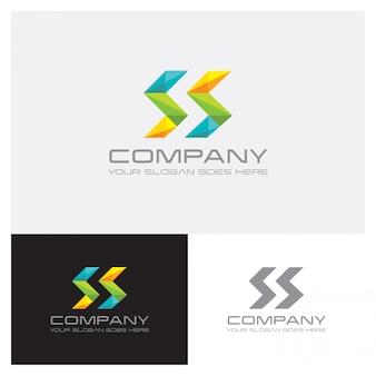 文字sの幾何学的形状のロゴ