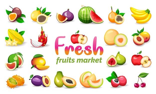 白い背景に、フラットスタイルのsに分離された様々なエキゾチックなフルーツのセット。ベジタリアンフード
