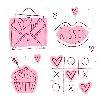 聖バレンタインの日落書き要素、クリップアート、ステッカーのセット。ラブレター、キス、マフィン、三目並べ、ハートラインアート。手描きs。