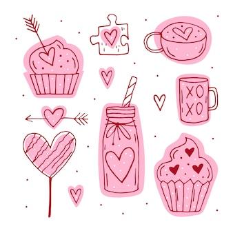 聖バレンタインの要素、クリップアート、ステッカーのセット。カップ、パズル、マフィン、カクテル、矢印、キャンディ、ハートラインアート。手描きs。