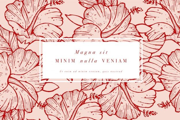 ハイビスカスの花を持つヴィンテージのカード。フローラルリース。ラベルsのフラワーショップのフラワーフレーム。夏の花のバラのグリーティングカード。化粧品包装の花の背景。