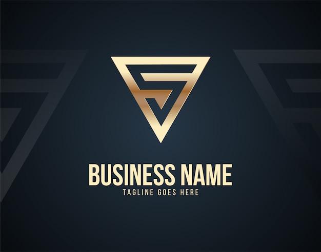 ゴールド色の効果を持つ高級抽象s文字デザインのロゴのテンプレート