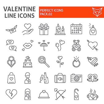バレンタインのs日線アイコンセット、結婚式の日のシンボルコレクション、