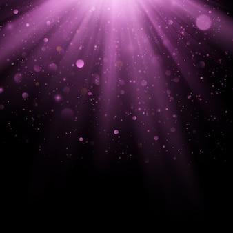 抽象的な紫色のオーバーレイ効果。光線の背景を持つきらめくオブジェクト。落ちるグロー光とフレア。 s
