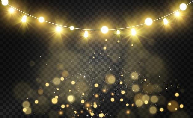 クリスマスの明るい、美しいライト、s。クリスマスのグリーティングカードのデザインの白熱灯。花輪、軽いクリスマスの装飾。