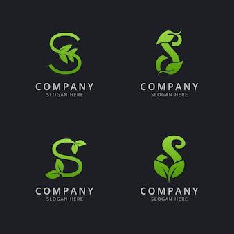 Начальный логотип s с элементами листа зеленого цвета