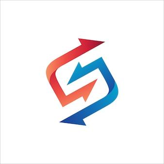 手紙s矢印ロゴベクトル