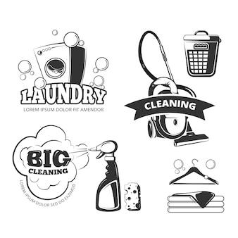 レトロクリーニングとランドリーサービスのラベル、エンブレム、ロゴ、バッジセット。きれいで洗って、バスケットとs