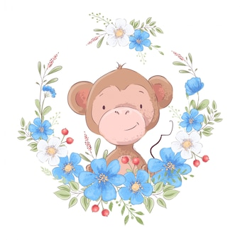 Иллюстрация принта для детской комнаты s одевает милую обезьяну в венке голубых цветков.